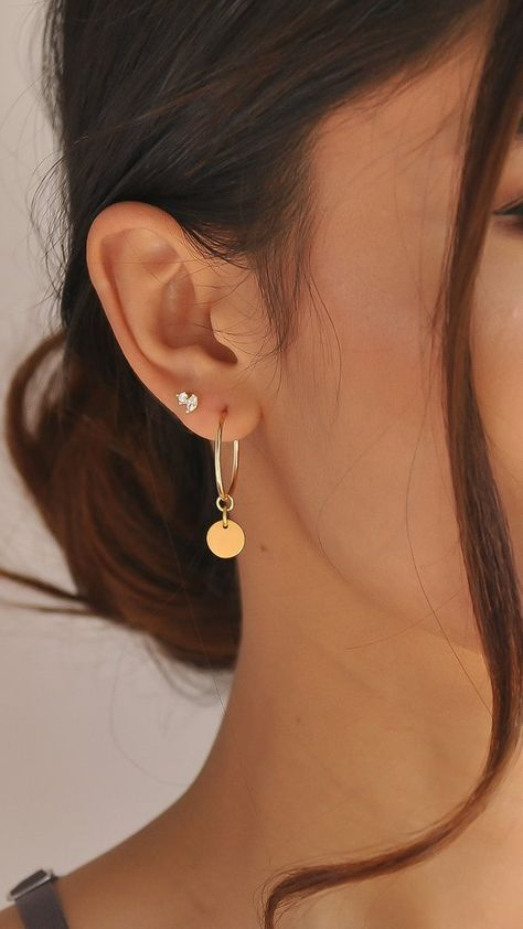 Gold Hoop Earrings Dainty hoop earrings Small hoop earrings Modern thin endless hoop Pearl drop disc celestial sun dangle Gold Filled - The Effective Pictures We Offer You About diy A quality picture can tell you many things. Small Gold Hoop Earrings, Bar Stud Earrings, Unique Earrings, Beautiful Earrings, Crystal Earrings, Diamond Earrings, Flower Earrings, Dainty Earrings, Jacket Earrings