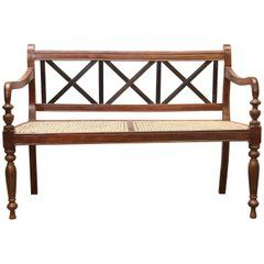 1920 S Finely Crafted Dutch Colonial Teak Wood And Cane Bench From Sri Lanka Furniture Carved Furniture Tuscany Style