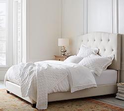 Raleigh Camelback Bed Full Denim Warm White Pottery Barn