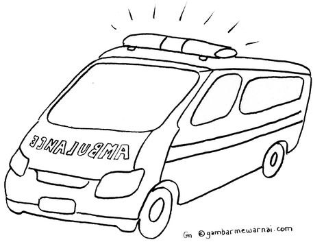 Mewarnai Mobil Ambulance Mobil Warna Buku Mewarnai
