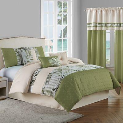 Malibu 7 Piece King Comforter Set In Light Green Comforter Sets