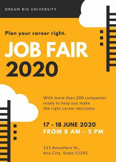 Job Fair Flyer Template Free Unique Orange And Black Vector Job Fair Flyer Templates By Canva Job Fair Flyer Template Flyer