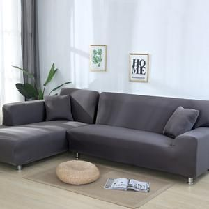 L Shape Need 2 Pieces Solid Corner Sofa Covers For Living Room