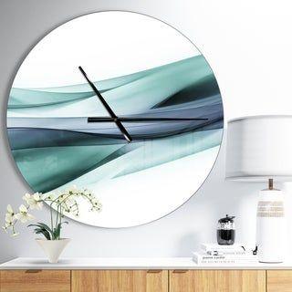 Designart Fractal Lines Grey Blue Oversized Modern Wall Clock