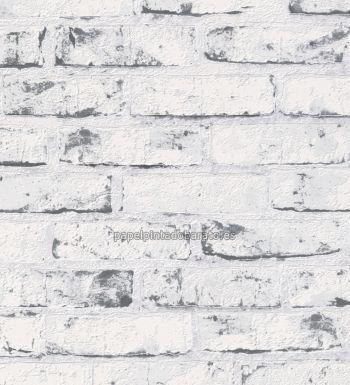 6dec59e22faa3 Papel pintado ladrillos visto blancos y grises - 40434