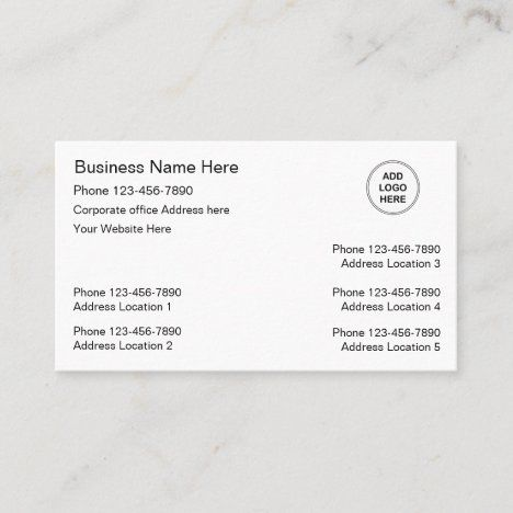 Multiple Location Business Cards Logo Template Zazzle Com Business Card Logo Logo Templates Business Card Template