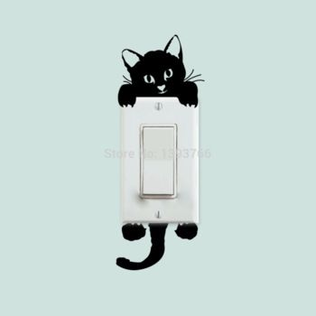 Bricolaje divertido mono gato interruptor pegatinas pegatinas de pared decoracion casa salón dormitorio decoracion