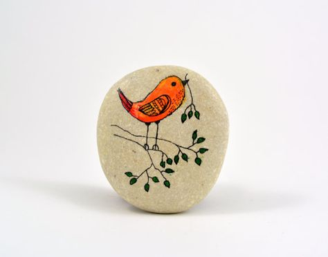 Hand painted stone. Home decor. Painted rock art. Unique gift. Decorative stones. Bird.    Hand painted beach stone. This stone I found by the coast of