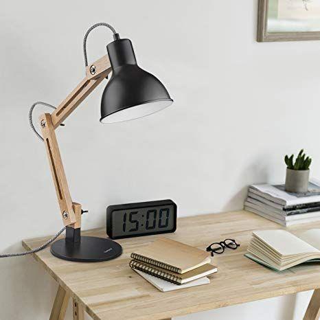 Tischlampe verstellbar Leselampe Glasschirm Schreibtischlampe Tischleuchte Holz