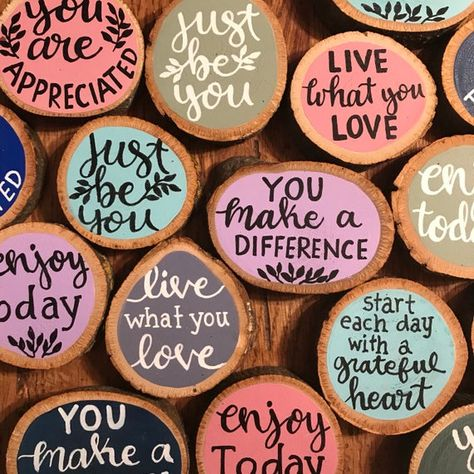 Motivational Magnets Inspirational Her customized Magnets Pebble Painting, Pebble Art, Stone Painting, Painting On Wood, Rock Painting Ideas Easy, Rock Painting Designs, Wood Slice Crafts, Inspirational Rocks, Diy Magnets