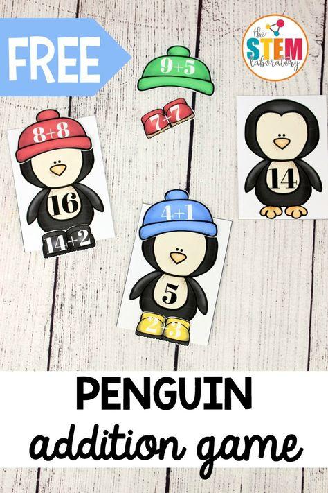 Dress the Penguin Addition Practice - The Stem Laboratory Kindergarten Math Games, Math Activities, Subtraction Activities, Ocean Activities, Numeracy, Winter Activities, Therapy Activities, Preschool, Addition Games