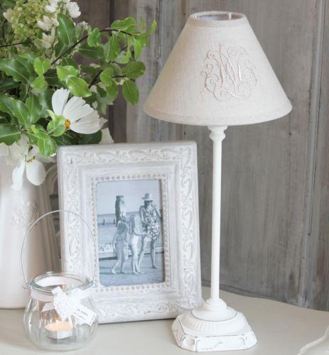 Shabby French White Vintage Antique Bedside Lamp Base Linen Monogram Shade Ebay Shabby Chic Bedside Lamps Bedside Lamps Vintage Antique Bedside Lamps