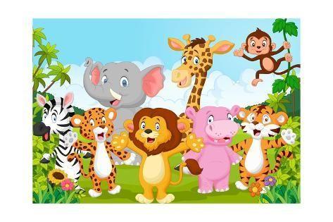 Cartoon Happy Little Animal Art Print Teguh Mujiono Art Com In 2020 Animal Wallpaper Self Adhesive Wallpaper Cartoon Animals