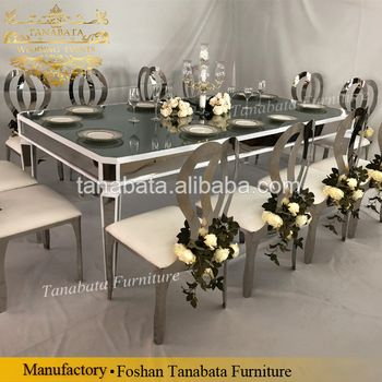Luxury Rectangle Silver Stainless Steel Mirror Glass Top Wedding Dining Table View Glass Dining Table Set Tanabata Product Details From Foshan Hardware Furnit Glass Dining Table Set Glass Dining Table Dining