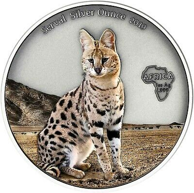 Details Zu Ghana 5 Cedis 2019 Serval Silver Ounce Antique Finish Luchs In Farbe Monety