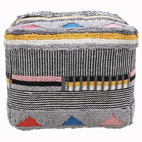 A multi-textured cube acts as a foot rest, seat, or pet perch in this funky pouf. The square-shape cube comes in a variety of colors, knits, and embroidery techniques for unpredictable texture and fun, pleasing those with a taste for something a little different. Place in a laid-back living setting for resting your feet with while staring a lively conversation.