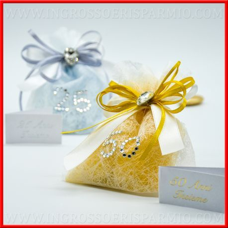 Sacchetti Confetti Anniversario Di Matrimonio Argento Oro Portaconfetti Confettata Nozze Anniversario Anniversario Di Matrimonio Nozze D Argento