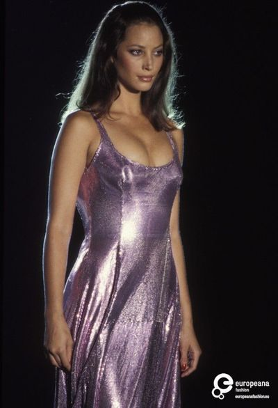 Purple sequin served at Atelier Versace by Christy Turlington, 1994
