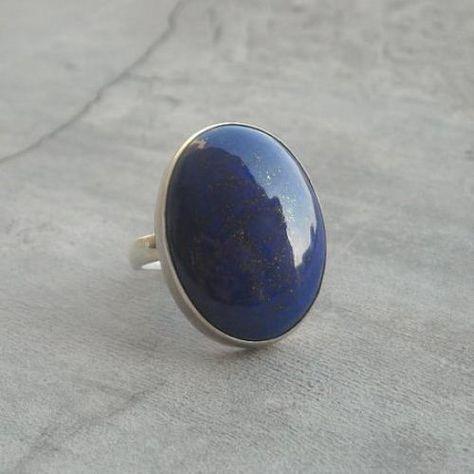 Lapis Lazuli Ring - Lapis ring, Handmade natural gemstone sterling silver ring - Size 6 Other sizes