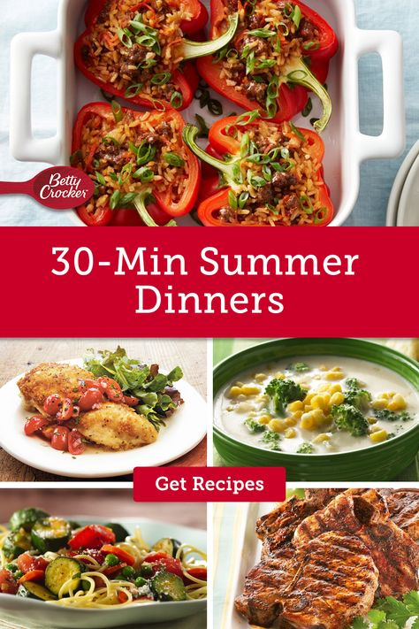 Our 30-Min Summer Dinners offer five quick and easy dinner recipes that are ready in a snap. Pin now to save time in the kitchen.