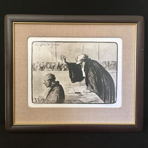 Antique Honore Daumier Pencil Signed Lithograph