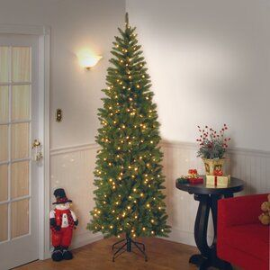 Kingswood Fir Pencil Green Fir Artificial Christmas Tree With 350 Clear White Lights In 2020 Best Artificial Christmas Trees Christmas Tree With Coloured Lights Realistic Artificial Christmas Trees