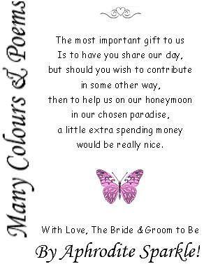 Details About 50 Wedding Honeymoon Money Poem Request Cards