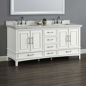 52 Inch Wall Mount Bathroom Vanity In Dark Espresso With Carrera