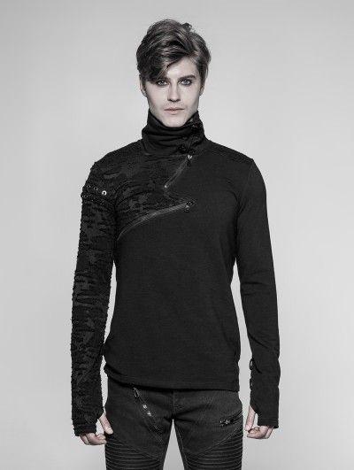 Punk Rock Heavy Metal Steampunk Leather Novelty Long Sleeve Men T-Shirt Top