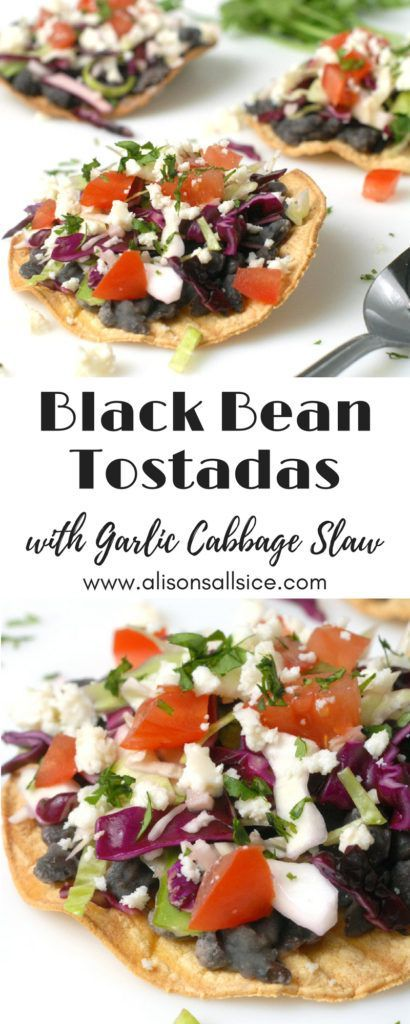 Black Bean Tostadas With Garlic Cabbage Slaw