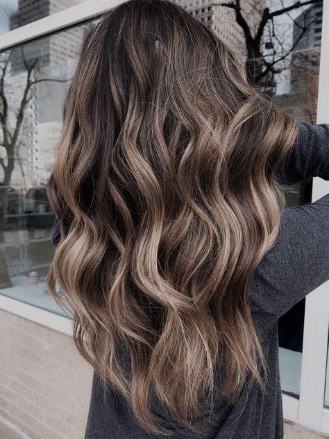 Balayage Long Hair, Hair Color Balayage, Balayage Highlights Brunette, Balayage For Asian Hair, Highlights For Asian Hair, Long Brunette Hairstyles, Medium Brown Hair With Highlights, Thick Highlights, Medium Dark Brown Hair