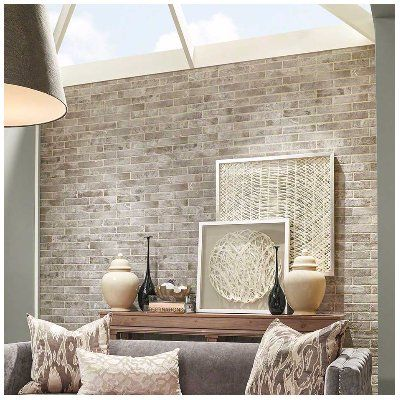 Capella 2 33 X 10 Porcelain Field Tile In Off White Brick Wallpaper Living Room Brick Wall Living Room Accent Walls In Living Room