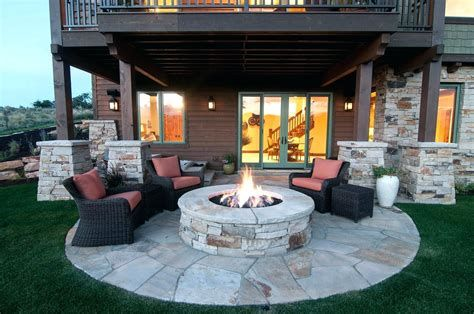 Walkout Basement Patio Below Deck Deck Patio Ideas Articles With Walkout Outdoor Fire Pit Seating Backyard Patio Designs Fire Pit Patio