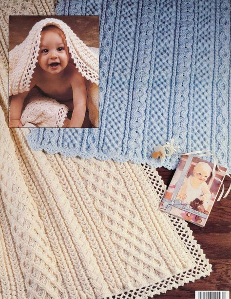 Aran Baby Afghans to Crochet eBook - By popular demand this leaflet is available as a downloadable product. For classic baby afghans featuring the look of ever-popular Aran fisherman knit patterns, choose one of these six crochet designs by Mary Jane Protus. Each is crocheted in one piece but gives the appearance of being created with panels of different textured patterns: cable, honeycomb, popcorn, diamond, twist, ridge, heart, basketweave, tree, braided, and lattice panels. All six afghans ...