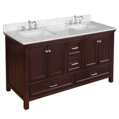 Kituku 60 Double Bathroom Vanity Set Base Finish Chocolate In 2021 Double Vanity Bathroom Bathroom Vanity Rustic Bathroom Vanities