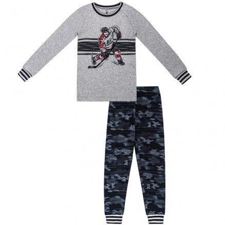 Petit Lem Grey Hockey Pyjama Zero 20 Kids Designer Childrens