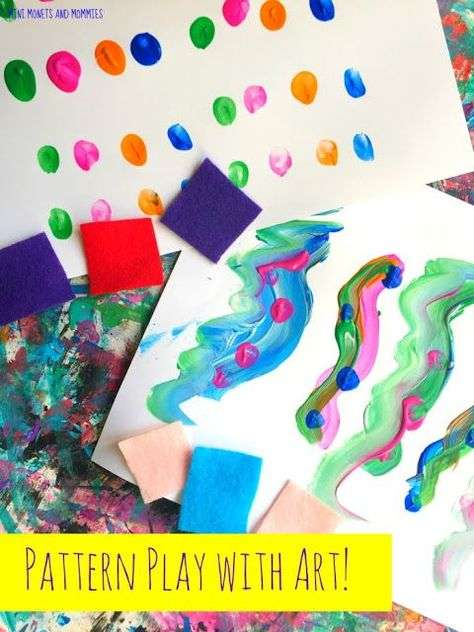 Kids' art and math activity! Pattern play using tempera paints, finger paints, printing and craft felt.