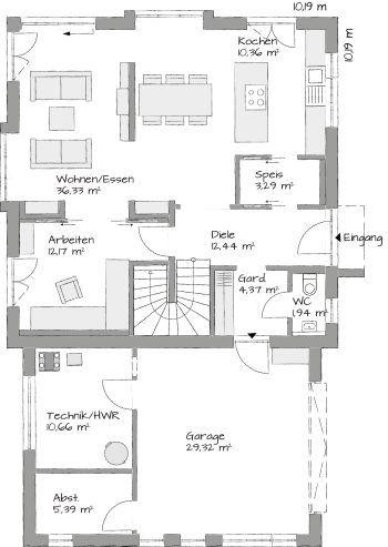 202 best Grundrisse images on Pinterest Bungalow floor plans - grundriss küche mit kochinsel
