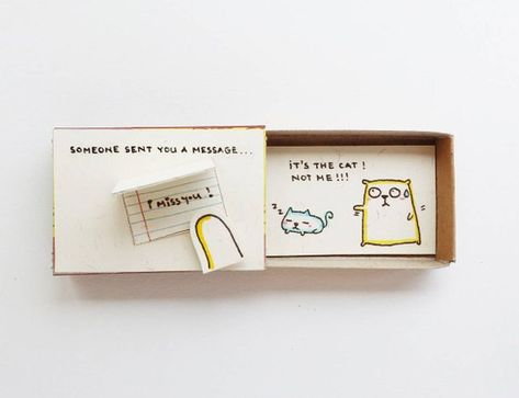 Humor Miss You Card/ Cute Matchbox Gift/ Surprise Long Distance Gift/ Kitty Card/Someone send you a