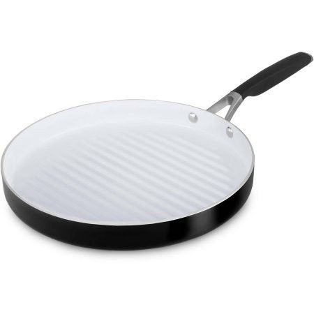 Ceramic Nonstick 12 Inch Round Grill Pan By Calphalon White Black Grill Pan Stovetop Grill Pan Grilling