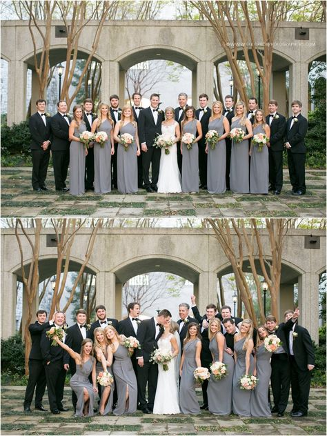 An elegant Southern wedding with black tuxedos for the men, bridesmaids in slate grey one shoulder dresses with a side slit, and the bride in a lace Anne Barge wedding dress.