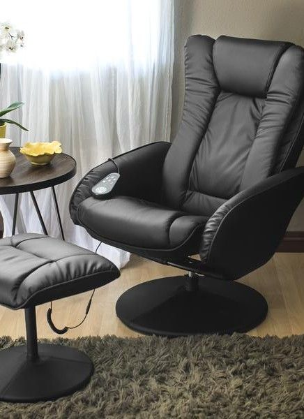 Faux Leather Electric Massage Recliner Chair W Ottoman In 2020 Ottoman Recliner Chair Chair