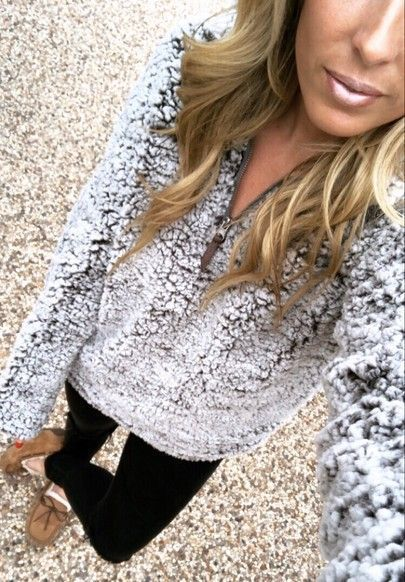 sherpa pullover, leggings outfit, moccasin outfit