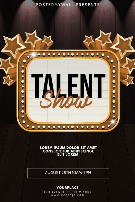 Talent Show Flyer Design Template Flyer Design Templates Event Poster Template Poster Template Free