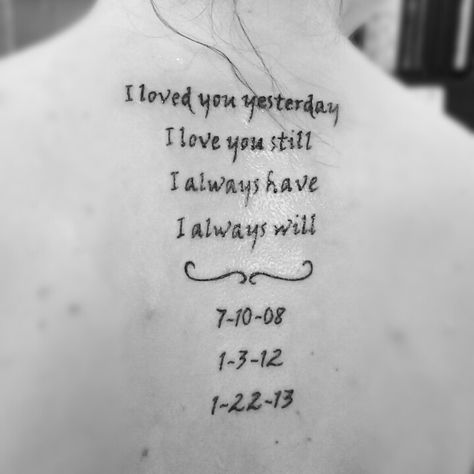 Memory tattoo--love the idea, but I don't know the exact date for #2.