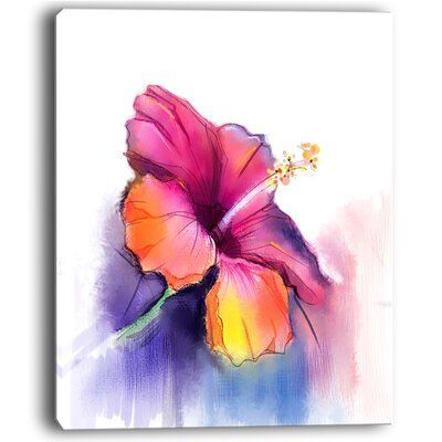 Ebern Designs Red Yellow Hibiscus Flower In Blue Large Flower Painting Print On Wrapped Canvas Size 60 H Flower Canvas Flower Canvas Wall Art Flower Painting
