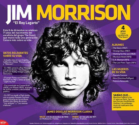 James Douglas Morrison nació un 8 de diciembre de 1943 en Melbourne, Estados Unidos. #Infografía