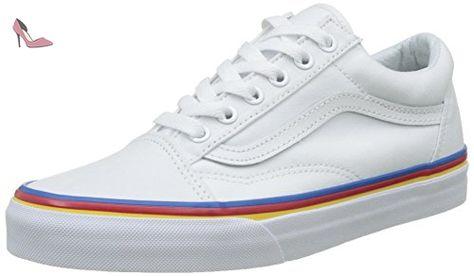 Vans Ua Old Skool, Baskets Basses Femme, Blanc (Rainbow ...