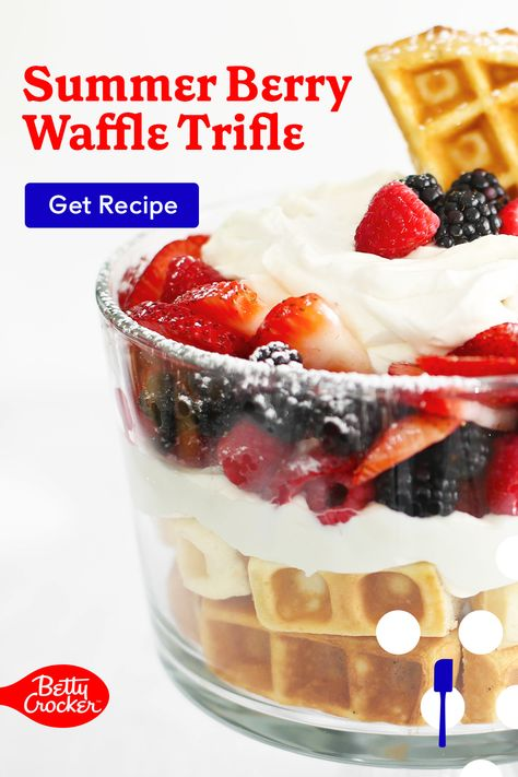 Our Summer Berry Waffle Trifle is a wildly delicious and easy brunch idea. Pin now for trifle inspiration.