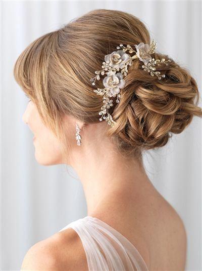 Delicate Tulle Floral Hair Clip Weddinghair In 2020 Wedding Hair Clips Floral Wedding Hair Floral Hair Clip